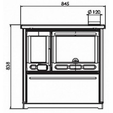 Отопительно-варочная печь Plamen 850 Glas бежевая